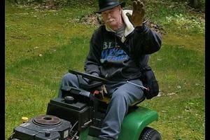 Al mowing the lawn.
